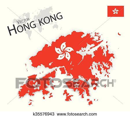 Carte Transport Chine.Hong Kong Hong Kong Region Administrative Speciale De Les Republique Populaire Chine Drapeau Et Carte Transport Et Tourisme