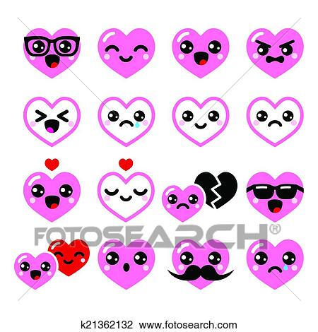 Clipart Of Kawaii Hearts Valentine S Day Icon K21362132 Search