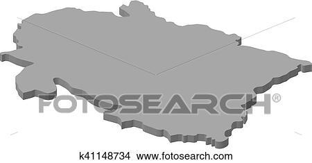 Map - Uttarakhand (India) - 3D-Illustration Clipart