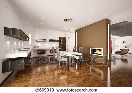 Cucine Moderne Con Camino.Modern Kitchen With Fireplace 3d Render Stock Image