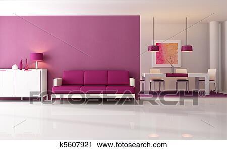 Modern Purple Living Room Stock Image K5607921 Fotosearch