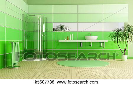 Bilder - modernes, grün, badezimmer k5607738 - Suche Stockfotos ...