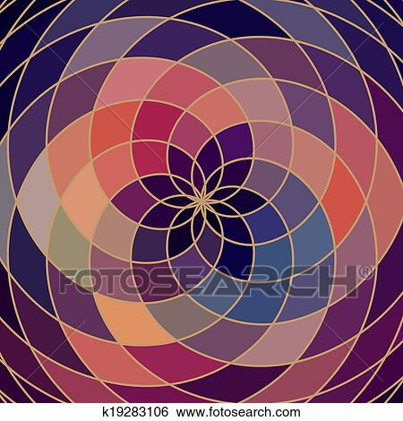 Clip Art Of Mosaic Spectrum Color Wheel Made Of Geometric Shapes