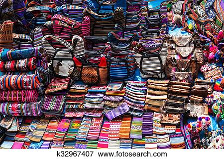 Peruvian Clothes And Bags On The Market