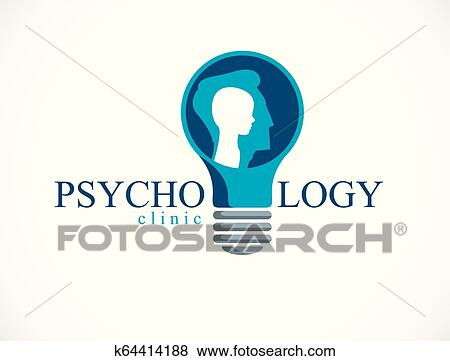 Clip Art Of Psychology Vector Logo Created With Man Head Profile And