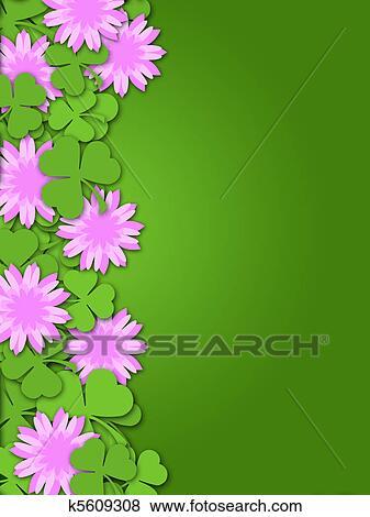 Stock illustration of shamrock paper cutting clover flowers border shamrock paper cutting clover flowers border illustration mightylinksfo