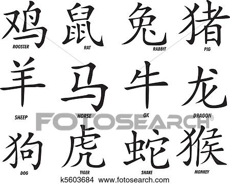 Clipart Of The Twelve Chinese Zodiac Signs K5603684 Search Clip