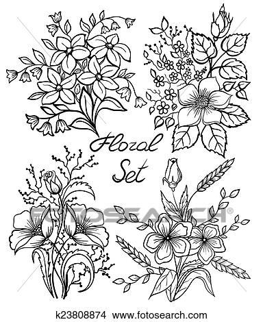 Vetorial Preto Branco Flores Set Floral Cobrança Com Folhas E Flores Mão Desenhar Vindima Clipart