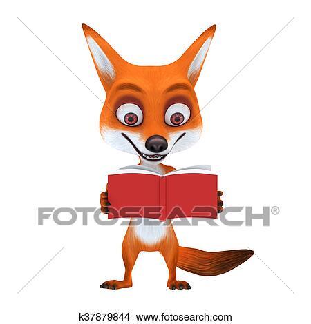 Disegni Volpe Rossa Con Atteggiarsi Leggere Libro K37879844