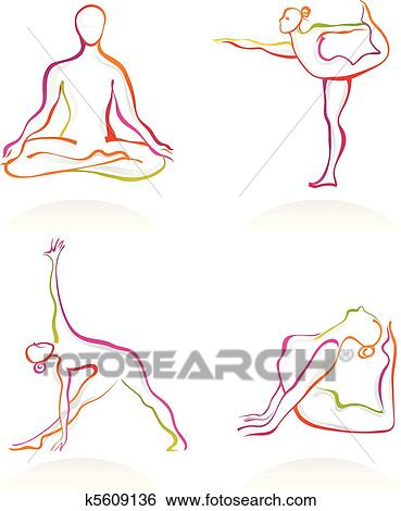 clip art of yoga postures k5609136  search clipart