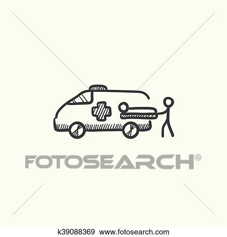الرجل ب المريض أيضا سيارة إسعاف سيارة رسم ايقونة Clip Art K39088369 Fotosearch