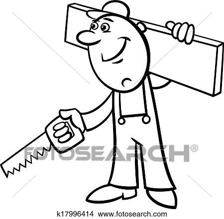 Clipart - arbeiter, mit, säge, färbung, seite k17996414 - Suche Clip ...
