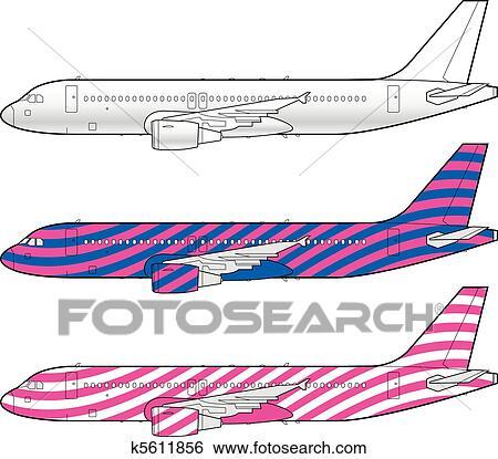 Clip Art - boeing, flugzeug, schablone k5611856 - Suche Clipart ...