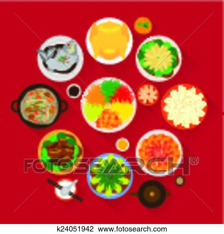 Chinese New Year Reunion Dinner Vector Design