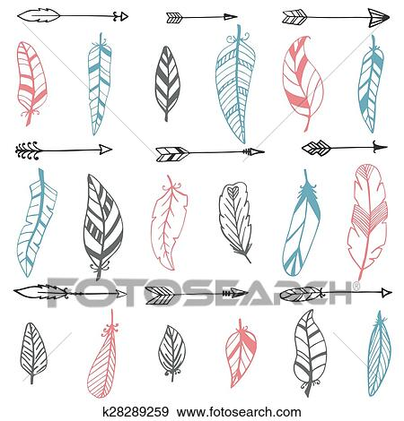 clip art of ethnic seamless pattern with hand drawn arrows and