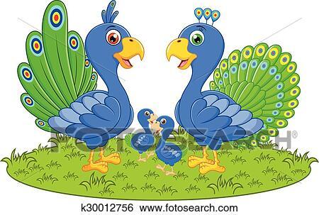 Happy Peacock Family Cartoon Clip Art K30012756 Fotosearch