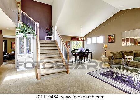 Stock Foto Haus Innere Mit Offenes Boden Plan Wohnzimmer