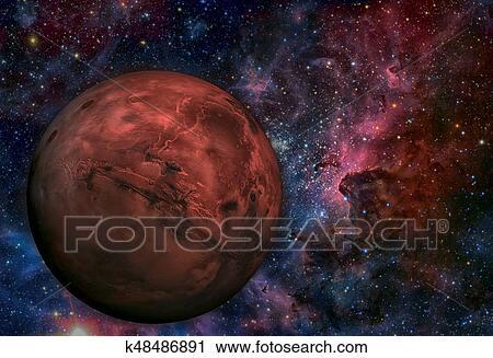Clipart - sistema solar, -, mars., él, es, el, cuarto, planeta, de ...