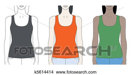 Strap Tank Top Template Clipart K5614414 Fotosearch