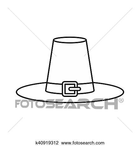 Witch Hat Icon Outline Style Drawing K40919312 Fotosearch