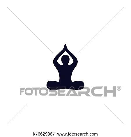yoga méditation lotus pose icône clipart  k76629867