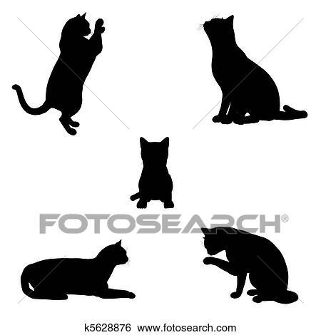 ネコ シルエット イラスト K5628876 Fotosearch