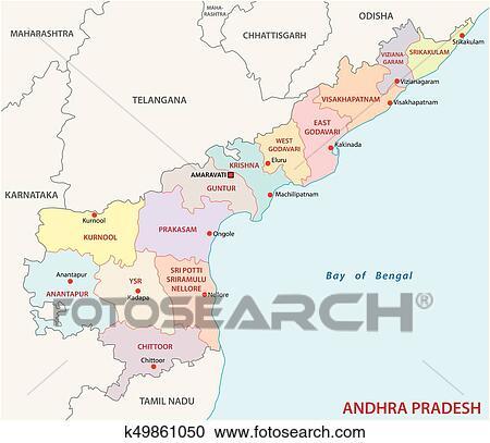 Andhra Pradesh administrative and political map, India Clipart ...