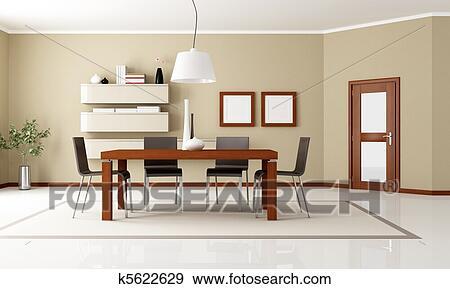 Elegante, moderno, sala da pranzo Archivio Illustrazioni