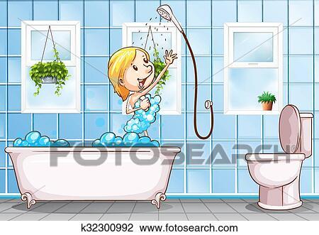 Clipart - frau, nehmen, dusche, in, dass, badezimmer k32300992 ...