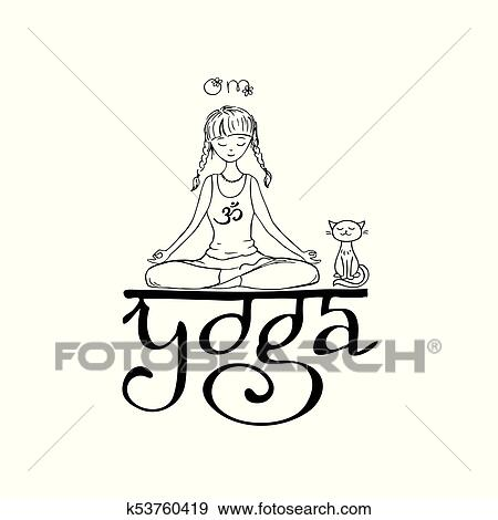 Girl In Lotus Yoga Pose Doodle Hand Drawn Vector Illustration Clip Art K53760419 Fotosearch