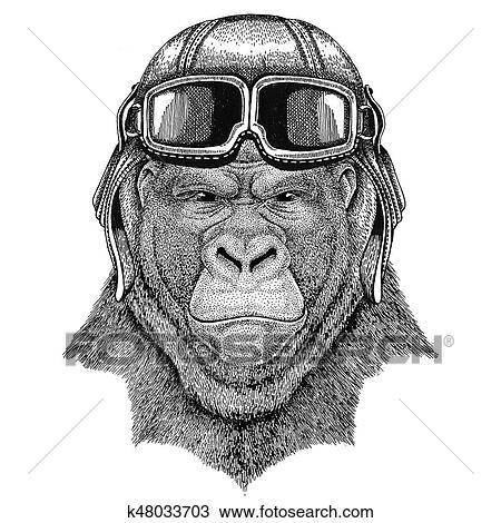 Dessin gorille singe singe effroyable animal porter - Singe a dessiner ...