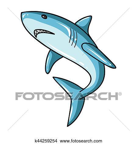 Dessins grand requin blanc ic ne dans dessin anim style isol blanc arri re plan - Dessin de grand requin blanc ...