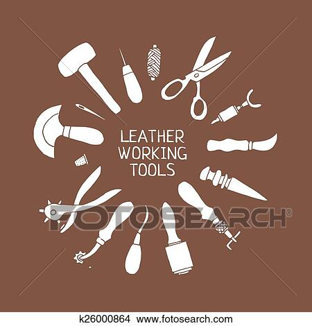 Clipart Of Hand Drawn Leather Craft Tools Vector Illustration