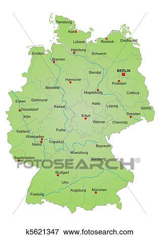 Landkarte Deutschland Stock Illustration K5621347 Fotosearch