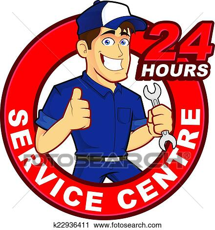clipart of mechanic 24 hours service centre k22936411 search clip rh fotosearch com service clipart free services clip art
