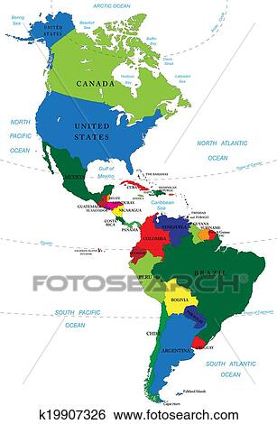 North and South America map Clip Art | k19907326 | Fotosearch