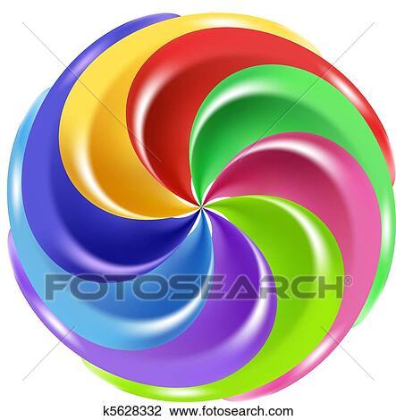 Christmas Candy Clipart.Rainbow Peppermint Christmas Candy Clipart