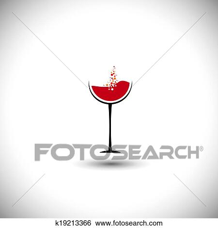 Clip Art of red wine with bubbles in wine glass - abstract vector ...