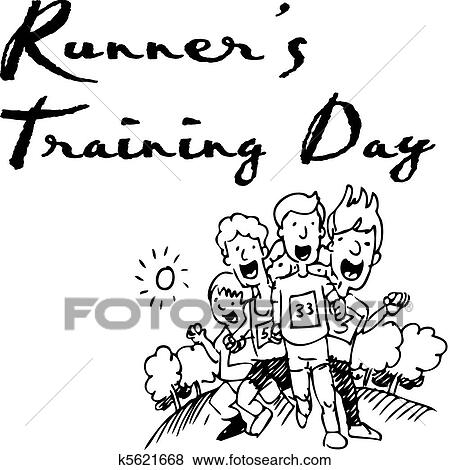 Clip Art Of Runners Training Day K5621668