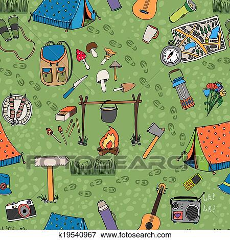 Clip Art Of Seamless Camping Background Vector Pattern K19540967