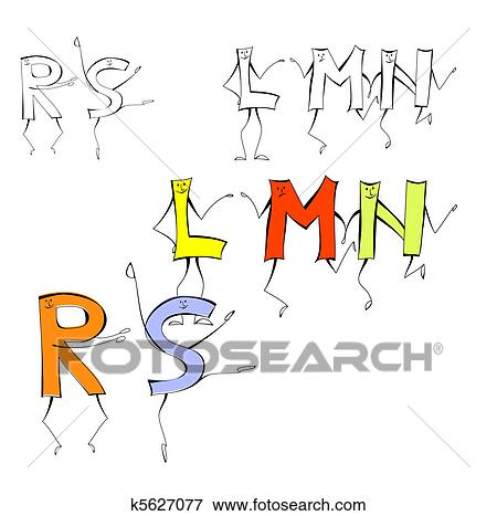 Clip art of set of cartoon style letters l m n r s k5627077 set of cartoon style letters l m n r s thecheapjerseys Images