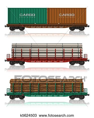 Drawing Of Set Of Freight Railroad Cars K5624503 Search Clipart