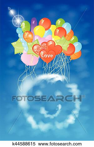 Smiley Cloud For Many Balloons Illustration Clipart K44588615