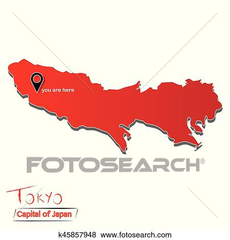 Clip Art Of Tokyo Capital Of Japan Map Illustration Vector You