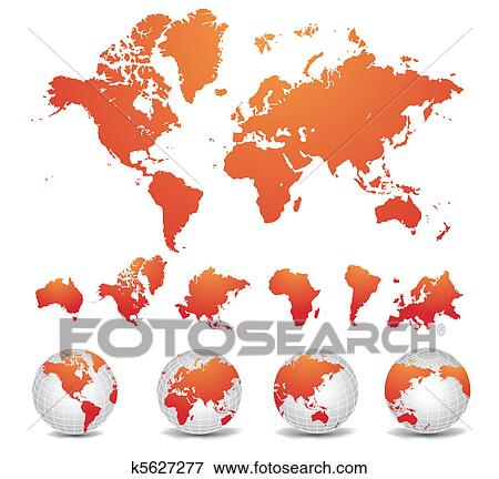 Clip Art Of World Map K5627277 Search Clipart Illustration