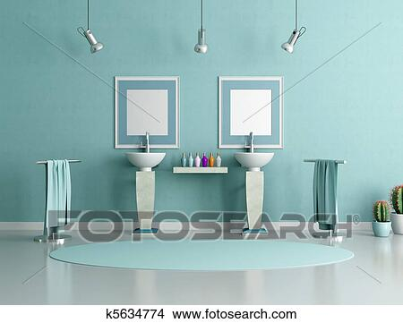 Tekeningen - blauw en groen, badkamer k5634774 - Zoek Clipart ...