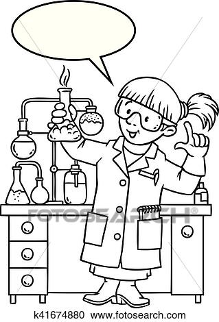 Coloring book of funny chemist or scientist Clipart
