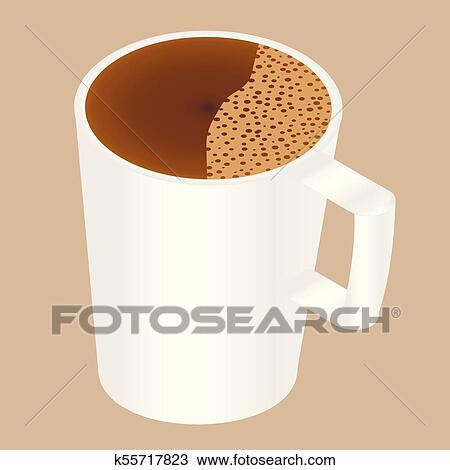 Cup of coffee with foam Clipart   k55717823   Fotosearch