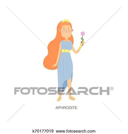Cute Red Hair Greek Mythology Woman God Aphrodite Clip Art