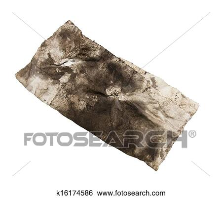 c18911bfb01ab Dirty rag on a white background Stock Photograph | k16174586 ...